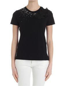 MY TWIN Twinset - Black t-shirt with ruffles and rhinestones