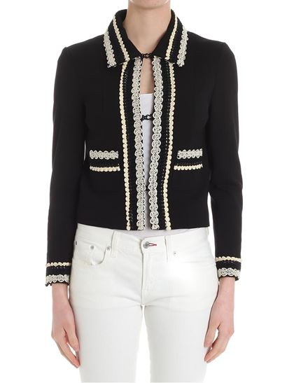 Black jacket with trimmings Twin-Set Discount Enjoy Outlet New Arrival Cheap Hot Sale gsnpv