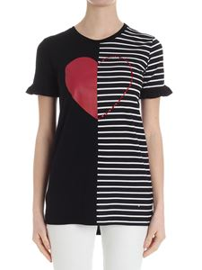MY TWIN Twinset - Black and white striped T-shirt with heart print