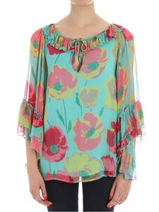 KI6? Who are you? - Light-blue blouse with floral pattern