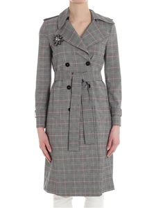 Pinko - Foderare trench with Prince of Wales pattern