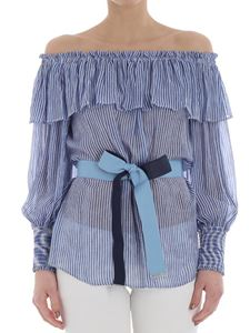 Pinko - Blue and white Becky striped top