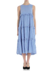 Parosh - Light-blue and white striped dress with bow