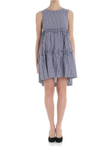Parosh - Blue and white striped dress with bow