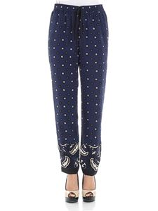 Red Valentino - Blue trousers with Bandhana print