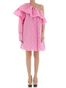 MSGM - Pink one shoulder broderie anglaise dress