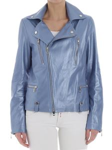 Desa 1972 - Light-blue leather biker jacket