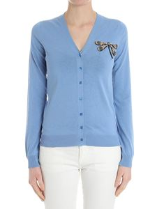 Rochas - Light-blue cardigan with dragonfly