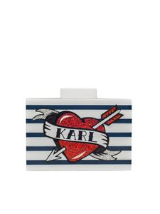 Karl Lagerfeld - White and blue Captain rigid clutch