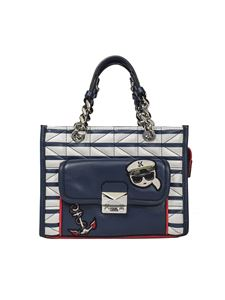 Karl Lagerfeld - White and blue striped Captain bag