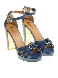 Moreschi - Blue sandals with buckle details