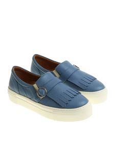 Moreschi - Light-blue slip on with buckle and fringes