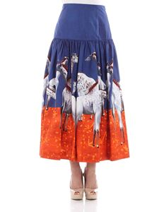 Stella Jean - Blue flared skirt