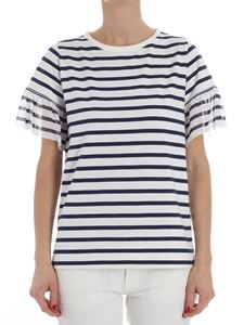 Fuzzi - White and blue striped T-shirt