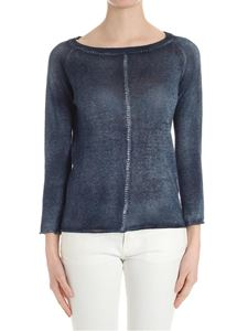 Avant Toi - Blue sweater with top-stitching detail