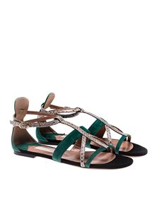 L'Autre Chose - Green and gray suede sandals