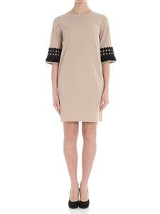 Barba - Beige dress with black inserts