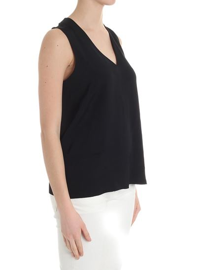 Black flared V-neck top Federica Tosi Factory Outlet Sale Online 9tVCdm