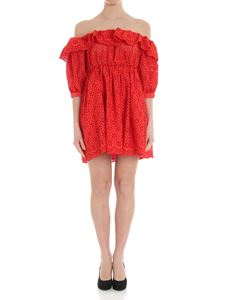 MSGM - Coral red broderie anglaise dress