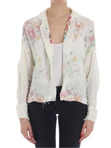 Avant Toi - Cream-color cardigan with floral pattern