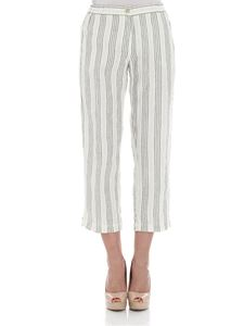 massimo alba - Cream color trousers with green stripes