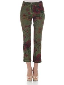 massimo alba - Green trousers with floral pattern