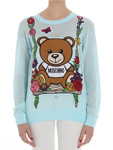 Moschino - Light-blue pierced Teddy Bear sweater