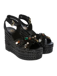 Ash - Black Tulum wedge sandals