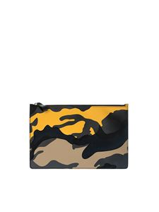Valentino - Black and yellow camouflage clutch