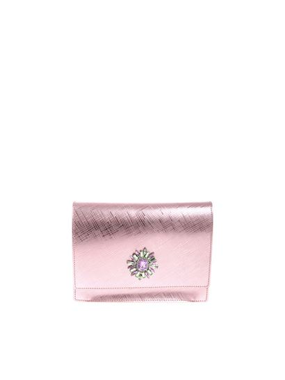 Gum Gianni Chiarini Pink shoulder bag with jewel detail
