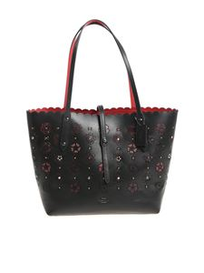 Coach - Black tote bag with pierced flowers