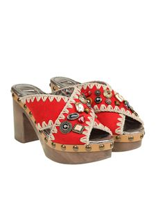 Mou - Red mules with rhinestones