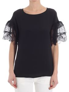 KI6? Who are you? - Black t-shirt with lace and mesh