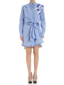 MSGM - Floral embroidered shirt-dress