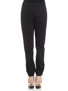 Moschino - Black trousers with zip and tulle