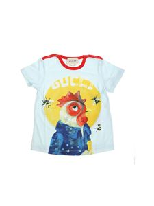 Gucci - Light blue T-shirt with rooster print