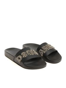 Dsquared2 - Black slides with rhinestone logo