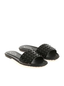 Tod's - Black slippers with studs