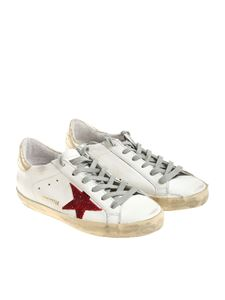Golden Goose Deluxe Brand - White Superstar sneakers with red star