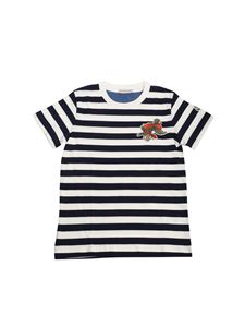 Moncler Jr - White and blue t-shirt with fish print