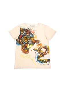 Gucci - Ecru t-shirt with tiger and snake print