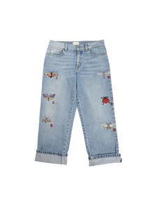Gucci - Light blue jeans with insect embroidery