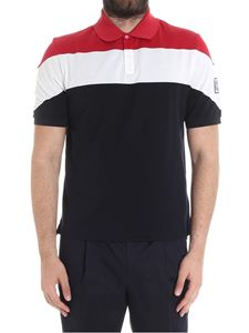 Moncler Gamme Bleu - Red, white and dark blue polo with logo embroidery