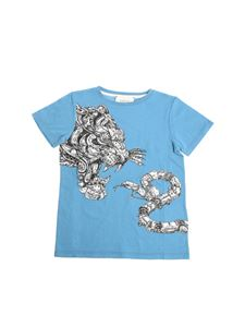 Gucci - Light blue tiger and snake print t-shirt