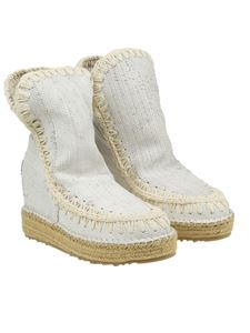 Mou - White Python-effect boots