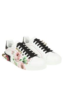 Dolce & Gabbana - White sneakers with rose prints and rhinestones