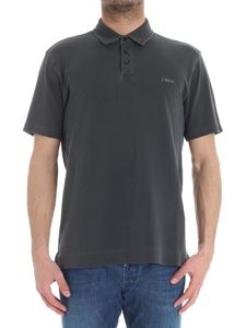 Z Zegna - Dark grey piqué cotton polo