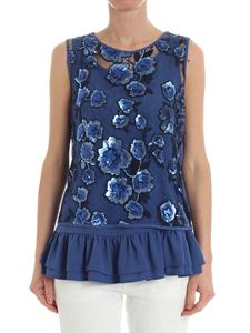 MY TWIN Twinset - Blue sequins and tulle top