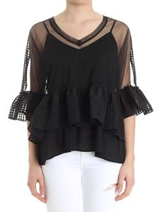 MY TWIN Twinset - Black tulle blouse