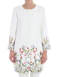 Blugirl - White overcoat with floral embroidery